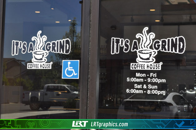 Store front window decals stickers chico lrt graphics